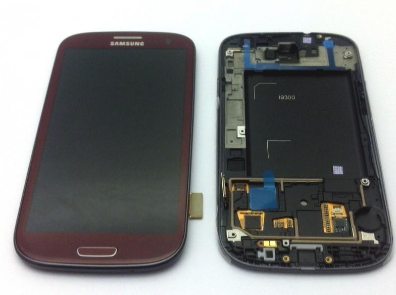 Display für Samsung Galaxy S3 (i9300) Touchscreen, LCD + Rahmen in rot / garnet red