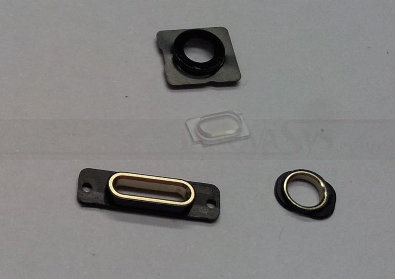 Gehäuseteile-Set (Kameralinse, Blitz Rahmen, Docking Port Halterung und Haltering Kopfhörerbuchse) für iPhone 5S gold