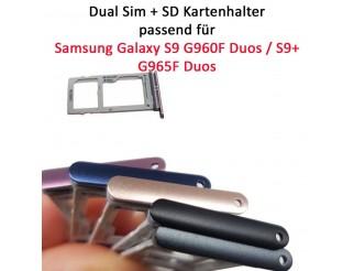 Dual Sim + SD Kartenhalter / Sim card tray passend für Samsung Galaxy S9 G960F Duos / S9+ G965F Duos
