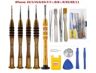 Premium-Werkzeugset für iPhone 4, 4S, 5, 5S, 6, 6S, 7, 7+, 8, 8+, X, XS, XR, 11