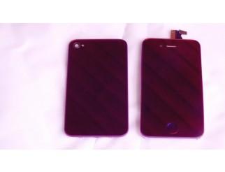 Display Einheit purpur verspiegelt mit Rückschale ohne Druck u. Home Button für iPhone 4
