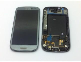 Display für Samsung Galaxy S3 (i9300) Touchscreen, LCD + Rahmen in Titanum grau