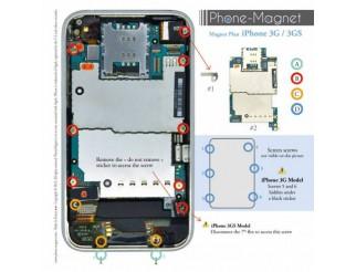 Phone-Magnet : Magnetische Profi-Schraubenaufbewahrung für iPhone 3G/3GS