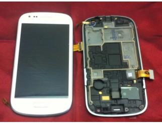 Display für Samsung Galaxy S3 Mini (i8190) Touchscreen, LCD + Rahmen in weiss