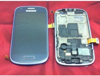 Display für Samsung Galaxy S3 Mini (i8190) Touchscreen, LCD + Rahmen in blau