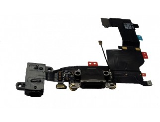 Docking port für iPhone 5S schwarz mit Kopfhörerbuchse + Mikrofon USB Lightning