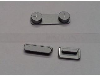 Button Set (Lautstärke, Stummschaltung, Powerknopf) grau für schwarzes iPhone 5S