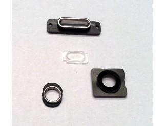 Gehäuseteile-Set für iPhone 5S weiss silber (Kameralinse, Blitz Rahmen, Docking Port Halterung und Haltering Kopfhörerbuchse)