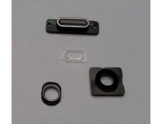 Gehäuseteile-Set silber (Kameralinse, Blitz Rahmen, Docking Port Halterung und Haltering Kopfhörerbuchse) für iPhone 5S weiss