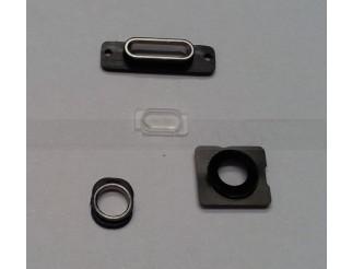 Gehäuseteile-Set (Kameralinse, Blitz Rahmen, Docking Port Halterung und Haltering Kopfhörerbuchse) für iPhone 5S schwarz