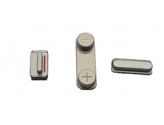 Button Set (Lautstärke, Stummschaltung, Powerknopf) silber für weisses iPhone 5 + 5S