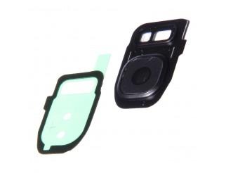 Kamera Linse (Glas) Samsung Galaxy S7 schwarz mit Rahmen und Kleber (hinten)