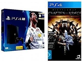 PlayStation 4 Pro - Konsole (1TB) inkl. FIFA 18 + Mittelerde: Schatten des Krieges Gold Edition